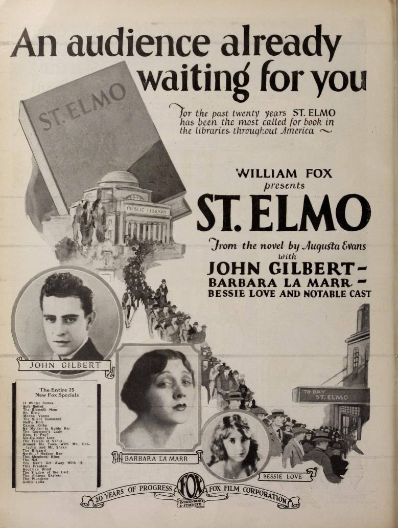 John Gilbert, Barbara La Marr, and Bessie Love in St. Elmo (1923)