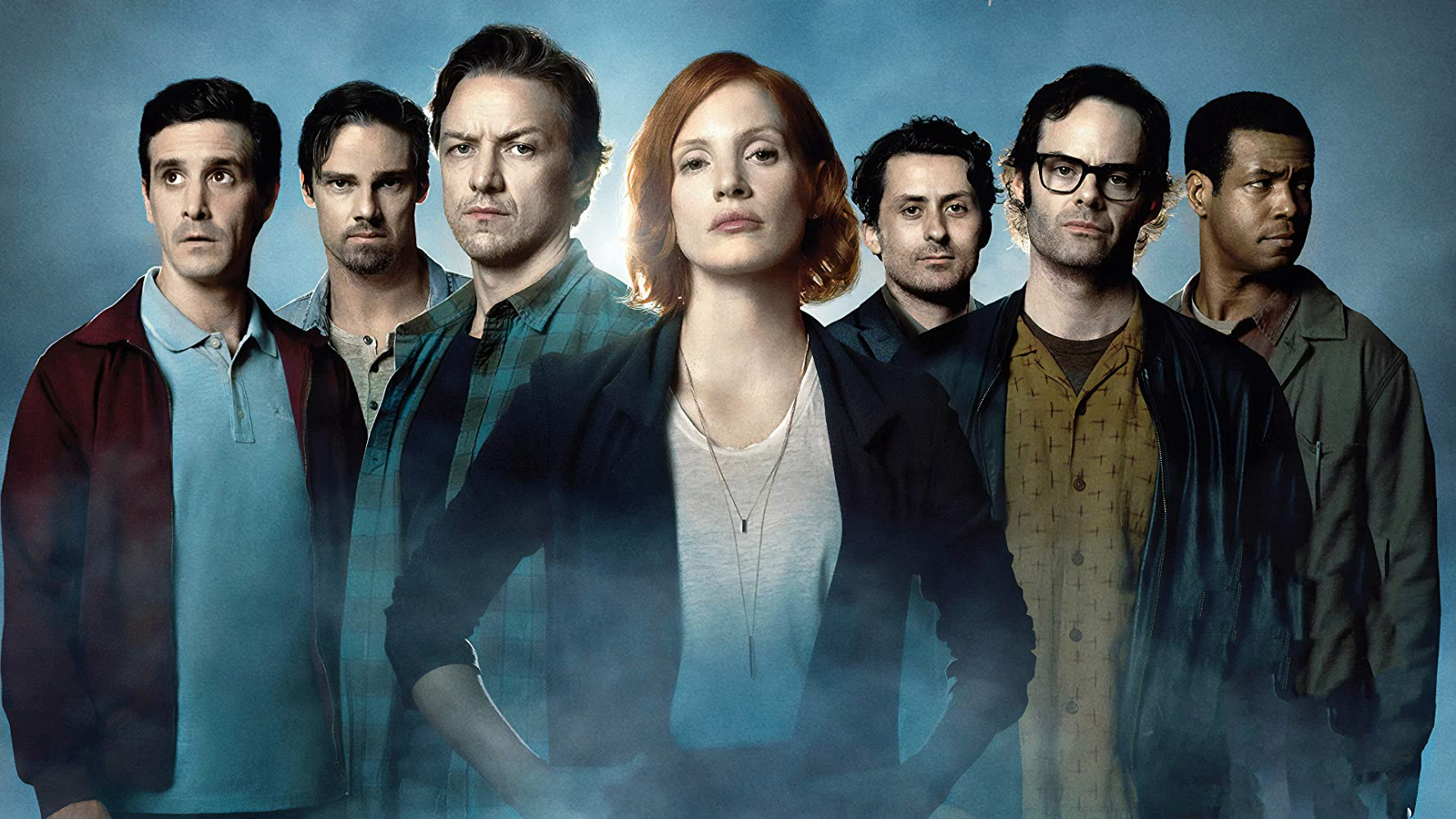 Bill Hader, James McAvoy, James Ransone, Jay Ryan, Jessica Chastain, Isaiah Mustafa, and Andy Bean in It Chapter Two (2019)