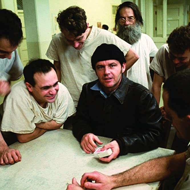 Jack Nicholson, Danny DeVito, Brad Dourif, Christopher Lloyd, Vincent Schiavelli, and Delos V. Smith Jr. in One Flew Over the Cuckoo's Nest (1975)