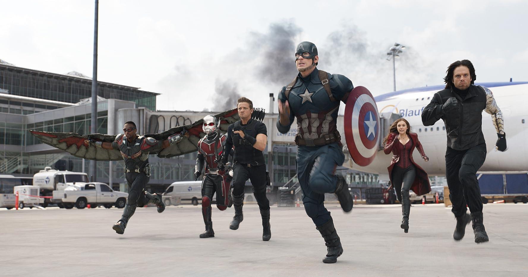 Chris Evans, Elizabeth Olsen, Jeremy Renner, Paul Rudd, Anthony Mackie, and Sebastian Stan in Captain America: Civil War (2016)