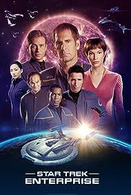 Scott Bakula, John Billingsley, Jolene Blalock, Dominic Keating, Anthony Montgomery, Connor Trinneer, and Linda Park in Enterprise (2001)