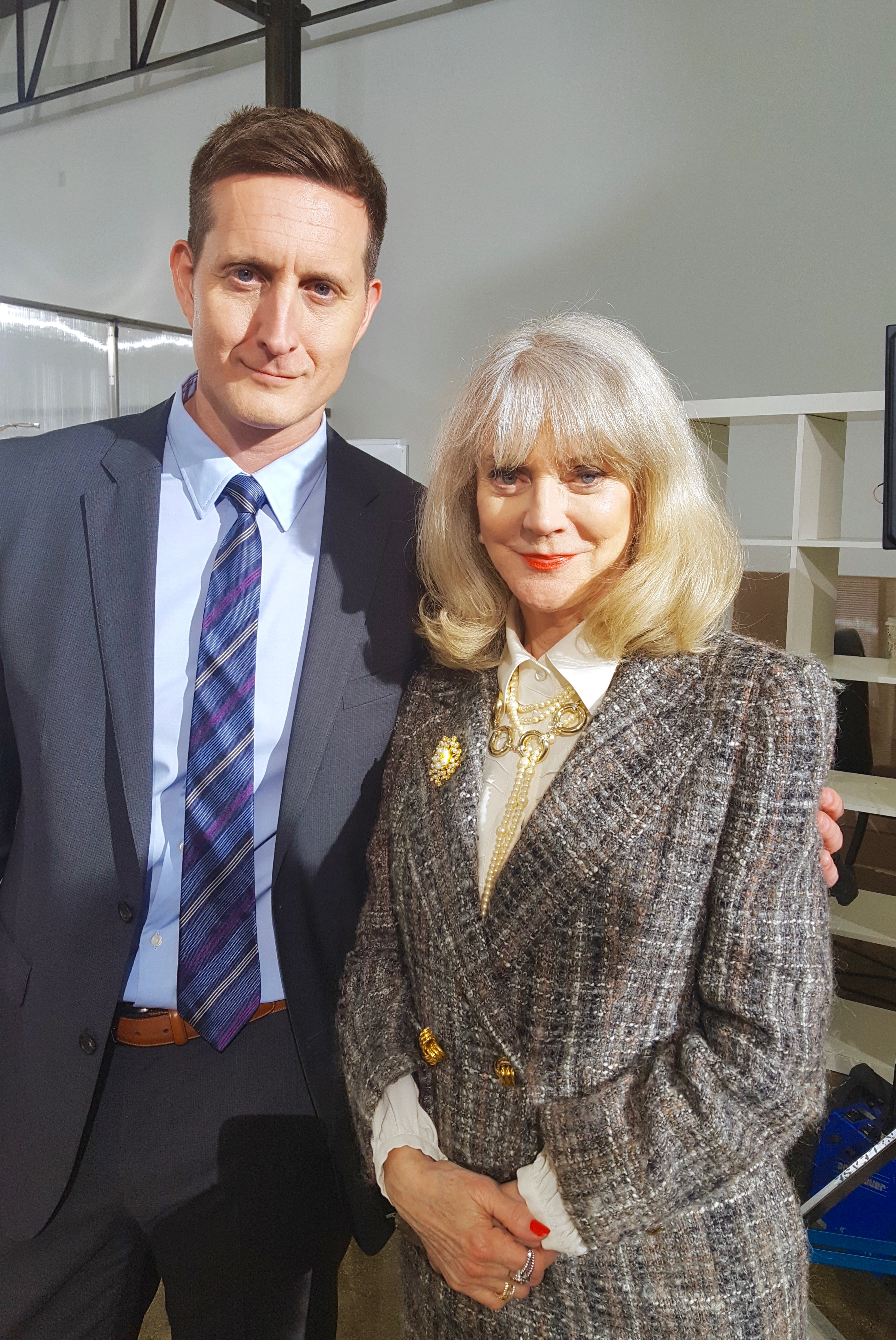 """Curt Cornelius & Blythe Danner on the set of """"Halfway There""""."""