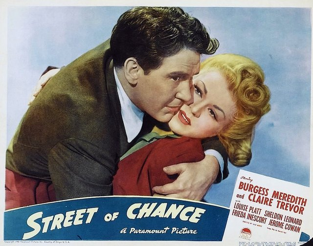 Burgess Meredith and Claire Trevor in Street of Chance (1942)