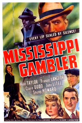 Claire Dodd, Shemp Howard, Frances Langford, John Litel, and Kent Taylor in Mississippi Gambler (1942)