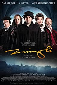 Oscar Bingisser, Rachel Braunschweig, Anatole Taubman, Maximilian Simonischek, and Sarah Sophia Meyer in Zwingli (2019)