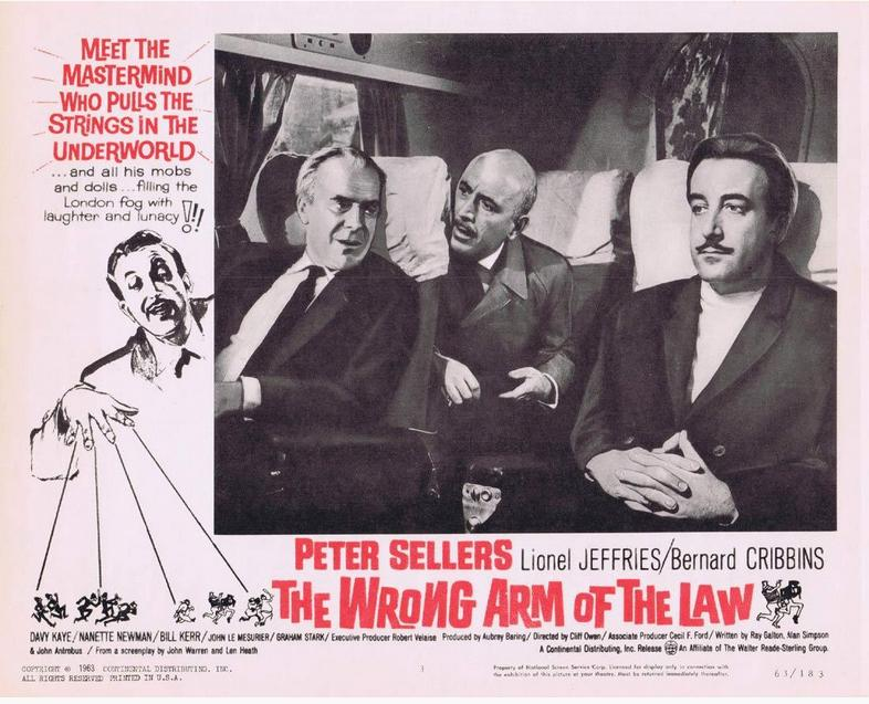 Peter Sellers, Lionel Jeffries, and John Le Mesurier in The Wrong Arm of the Law (1963)