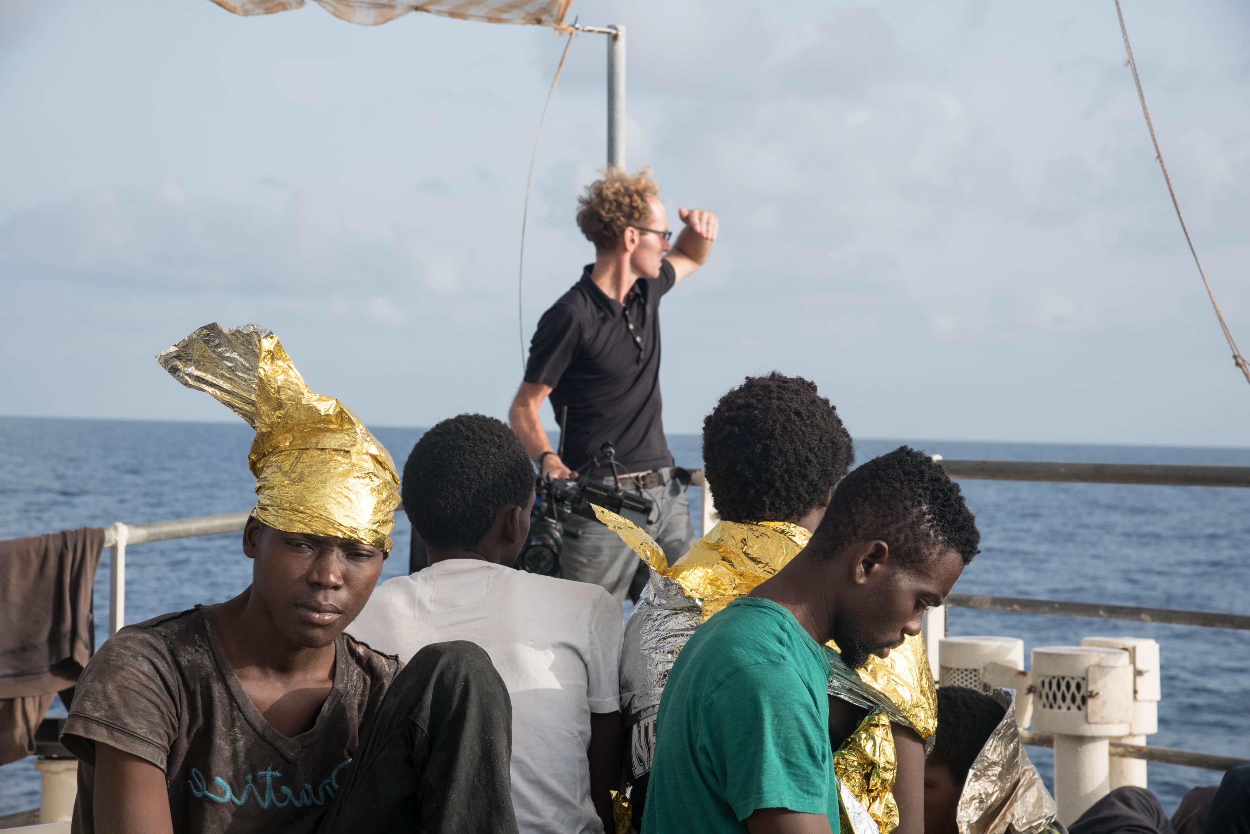 Skye Fitzgerald filming Search & Rescue in the Mediterranean.