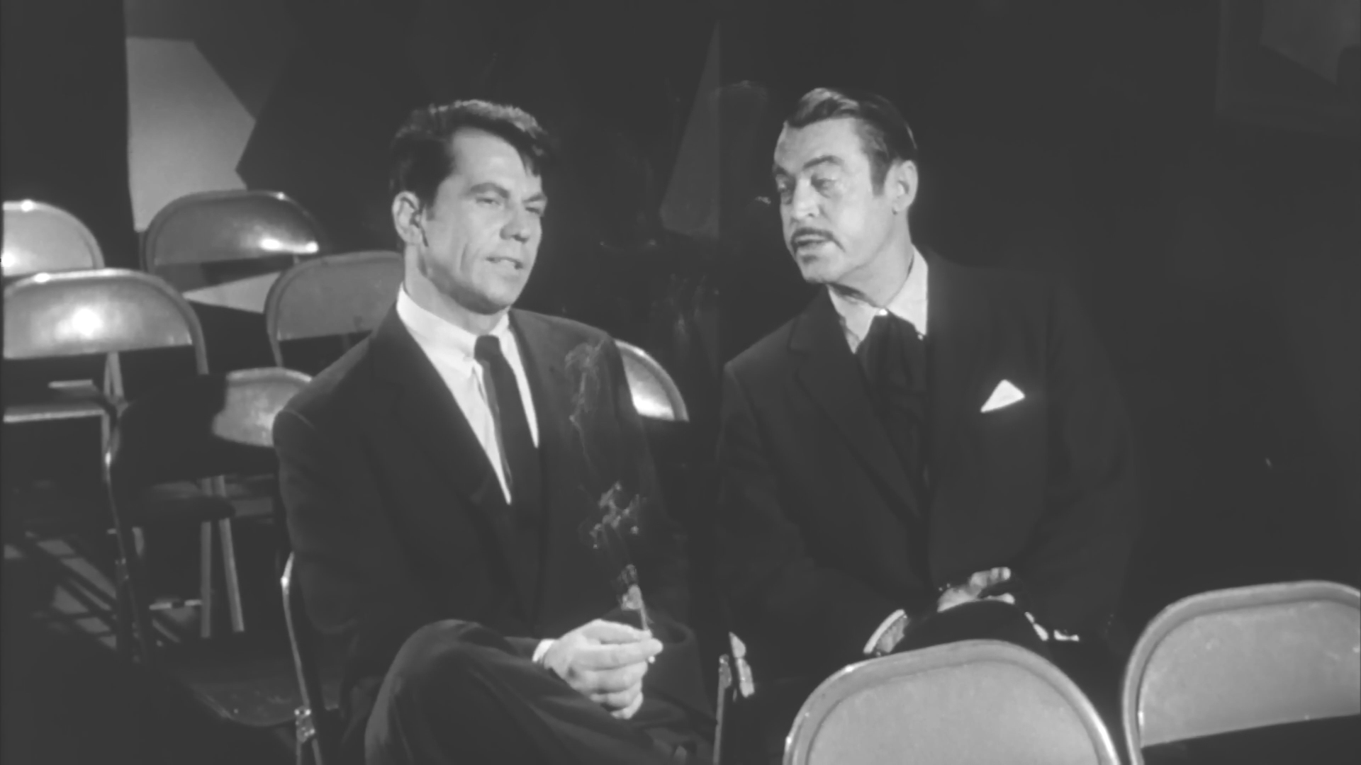 Chester Morris and Ron Randell in The She-Creature (1956)