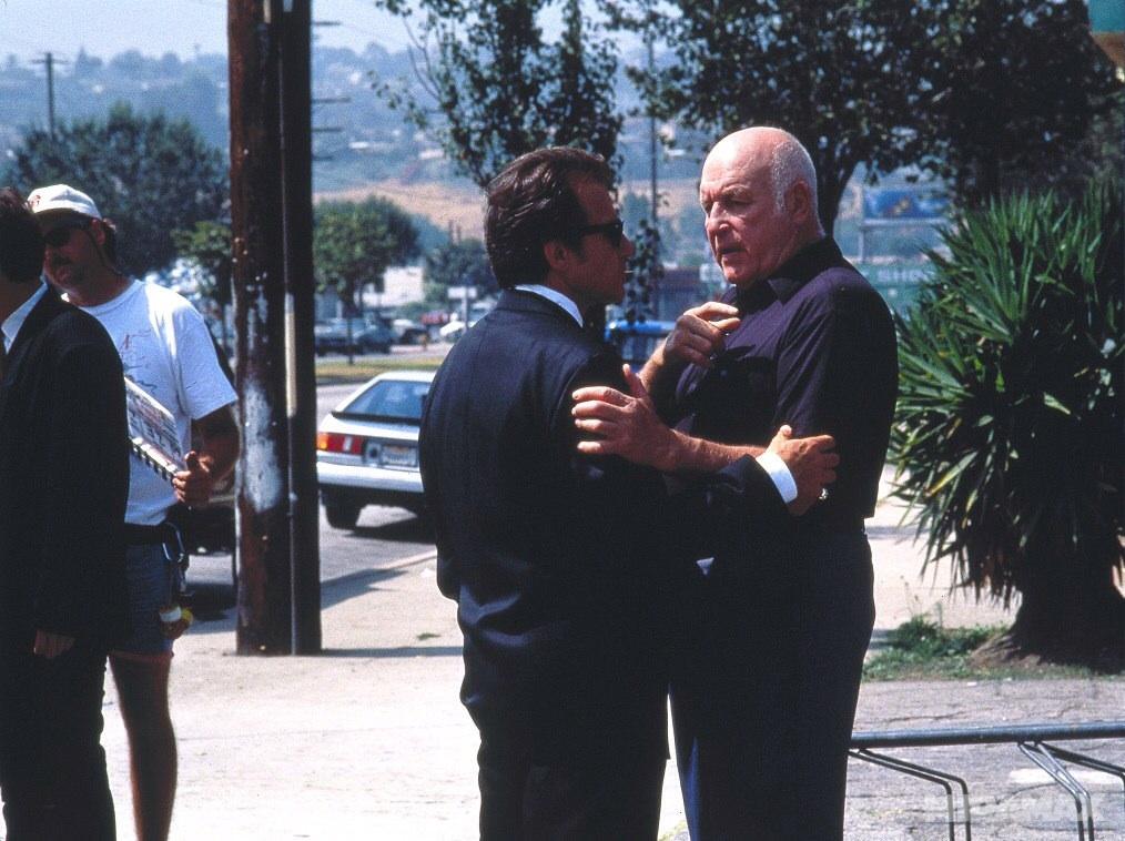 Harvey Keitel and Lawrence Tierney in Reservoir Dogs (1992)