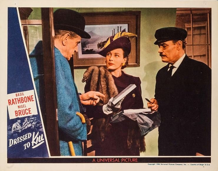 Harry Cording, Patricia Morison, and Frederick Worlock in Dressed to Kill (1946)