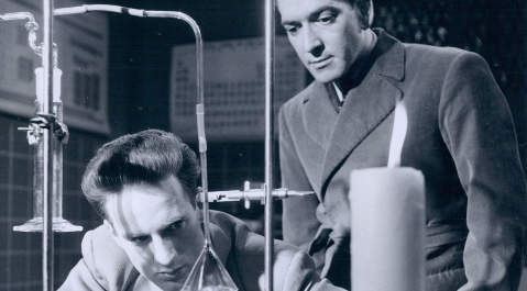 Marc Favreau and Fernand Seguin in La Science en Pantoufles (1954)