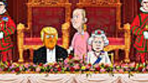 Inside Cartoon Trump's Royal Dinner with the Queen