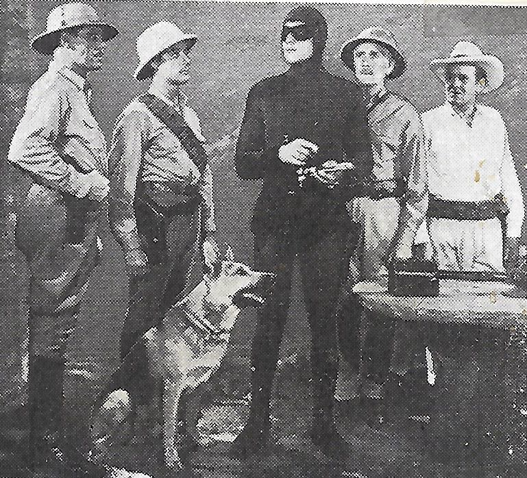George Chesebro, Kenneth MacDonald, Frank Shannon, Tom Tyler, and Ace the Wonder Dog in The Phantom (1943)