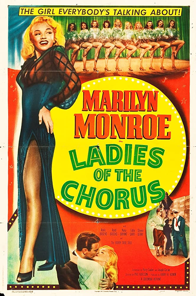 Marilyn Monroe, Rand Brooks, Eddie Garr, Marjorie Hoshelle, Adele Jergens, Dorothy Tuttle, Eve Whitney, and Judith Woodbury in Ladies of the Chorus (1948)