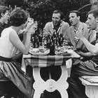 Birgit Brüel, Bente Dessau, Jesper Jensen, Elsebet Knudsen, Erik Kühnau, Willy Rathnov, and Jens Østerholm in Weekend (1962)