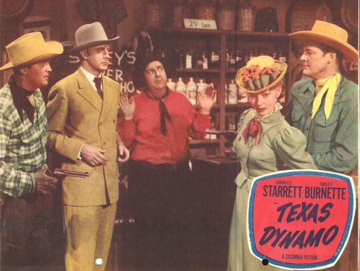 Smiley Burnette, John Dehner, Slim Duncan, Lois Hall, and Charles Starrett in Texas Dynamo (1950)