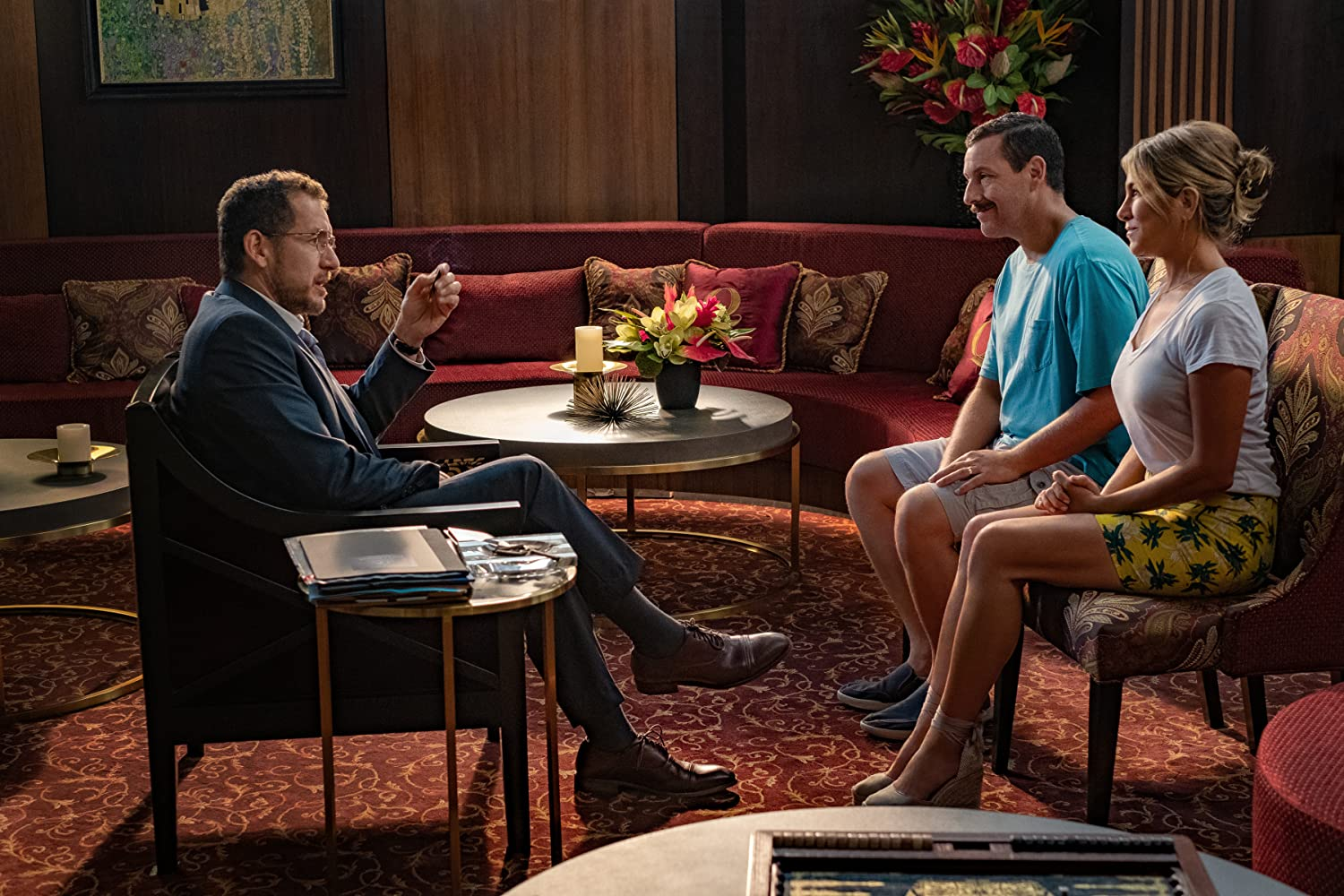 Jennifer Aniston, Adam Sandler, and Dany Boon in Murder Mystery (2019)