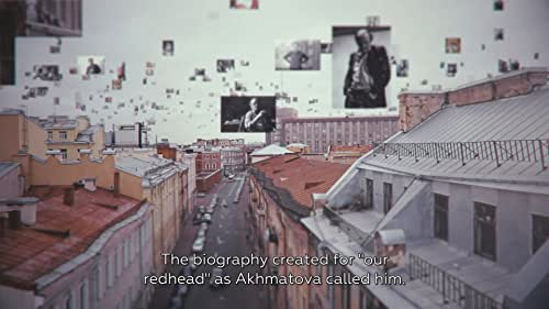 """Fellow poets, excited ladies, the love of his life, Marina Basmanova, two psychiatric hospitals, KGB interrogations, a People's Court, prison, exile, forced emigration. All of this was Brodsky's Leningrad. The biography, which was written for, in Akhmatova's words, """"our red-head"""". On the fourth of June 1972, when the plane carrying Brodsky took off from Pulkovo airport, this biography ended. And a new life began that almost no one in his homeland is aware of. Russia, America, Italy, Sweden, Finland - the filmmakers have traced the journey of their hero, perhaps the most well-traveled of all Russian writers. The places, that became his biography. And the people, that defined his fate."""