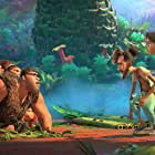 Nicolas Cage, Catherine Keener, Cloris Leachman, Leslie Mann, Peter Dinklage, Clark Duke, Kailey Crawford, and Emma Stone in The Croods: A New Age (2020)