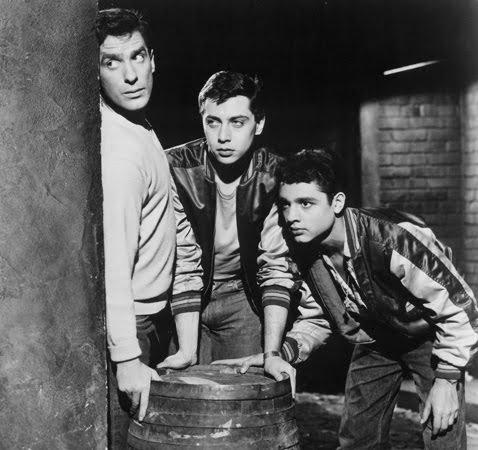 Sal Mineo, John Cassavetes, and Mark Rydell in Crime in the Streets (1956)