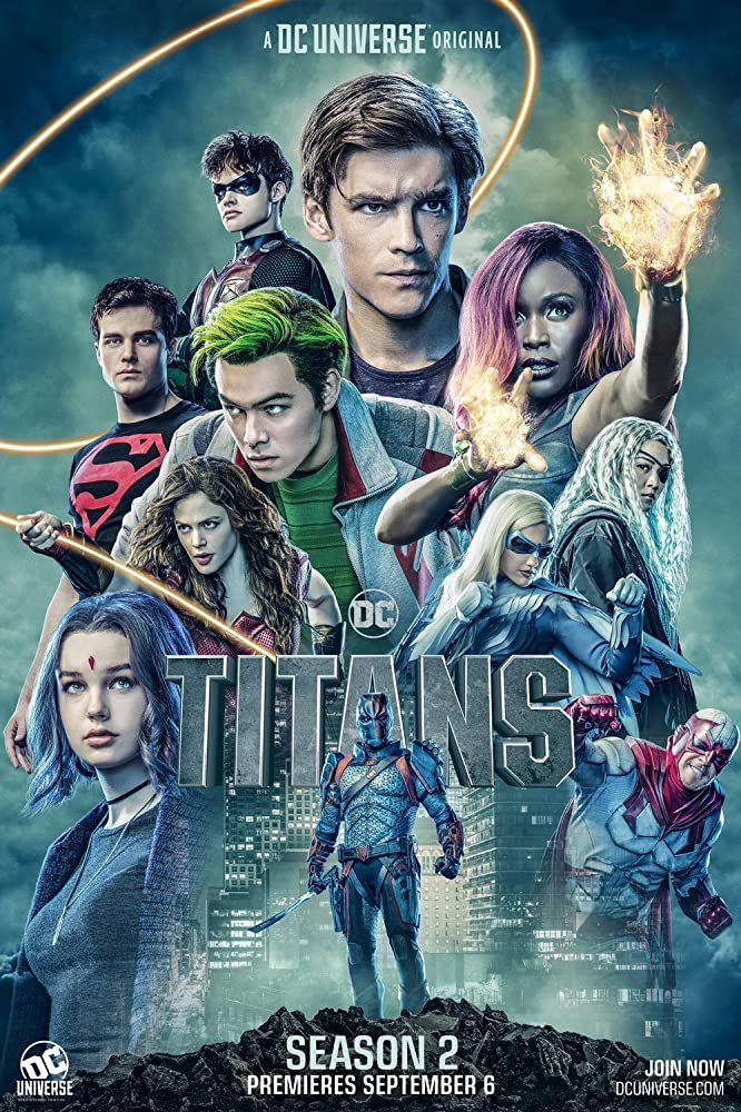 Esai Morales, Minka Kelly, Alan Ritchson, Anna Diop, Conor Leslie, Ryan Potter, Brenton Thwaites, Chelsea Zhang, Joshua Orpin, Curran Walters, and Teagan Croft in Titans (2018)