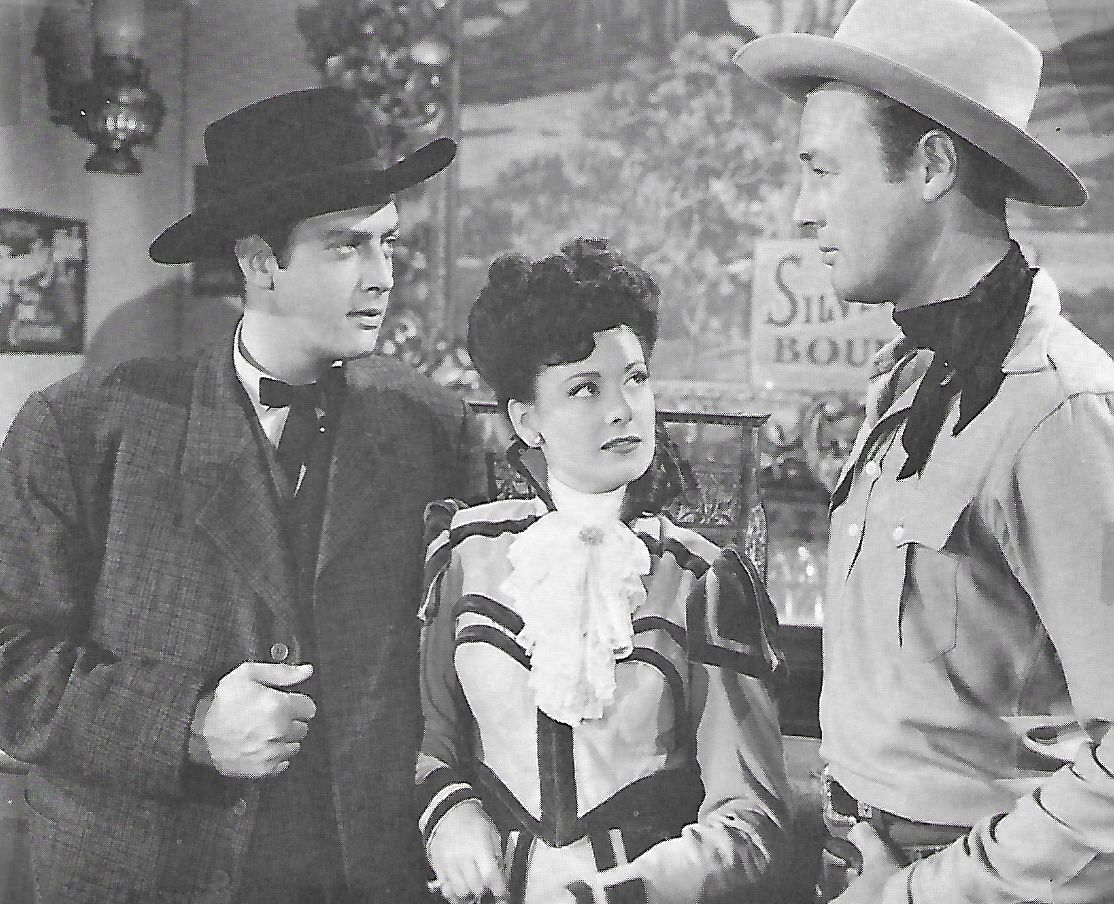 Raymond Burr, Debra Alden, and James Warren in Code of the West (1947)