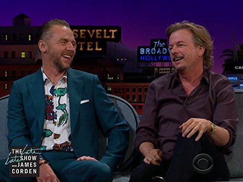 David Spade and Simon Pegg in The Late Late Show with James Corden (2015)