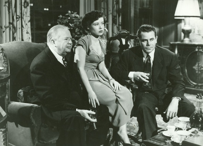 Glenn Ford, Charles Coburn, and Gloria DeHaven in The Doctor and the Girl (1949)