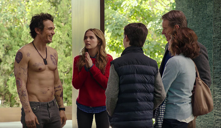 Megan Mullally, Bryan Cranston, James Franco, Zoey Deutch, and Griffin Gluck in Why Him? (2016)
