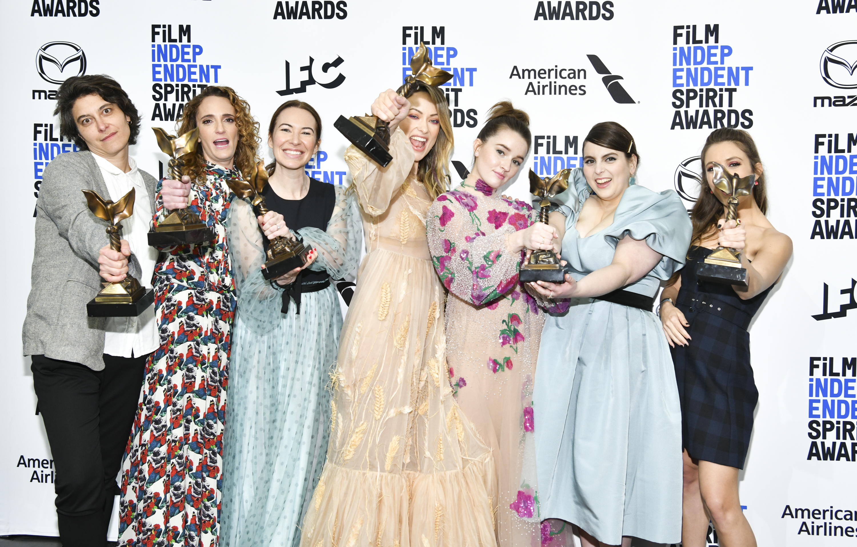 Olivia Wilde, Jessica Elbaum, Chelsea Barnard, Beanie Feldstein, Kaitlyn Dever, Katie Silberman, and Billie Lourd at an event for 35th Film Independent Spirit Awards (2020)