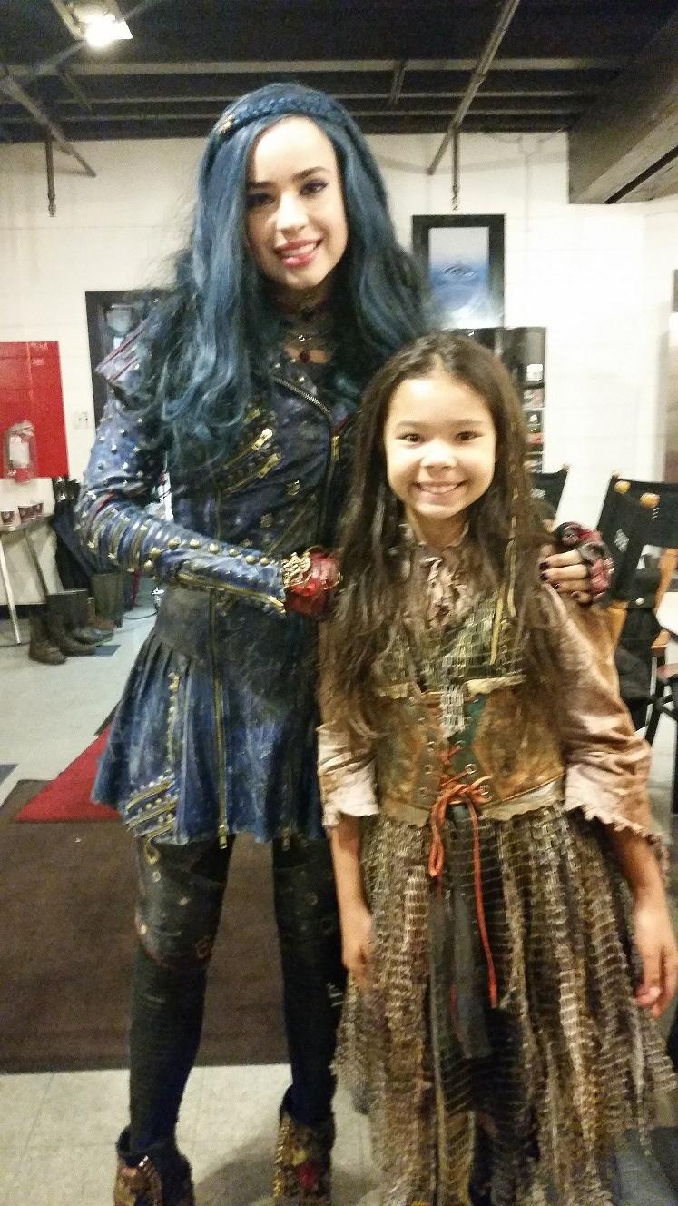 On set of Descendants 2 with Sofia Carson