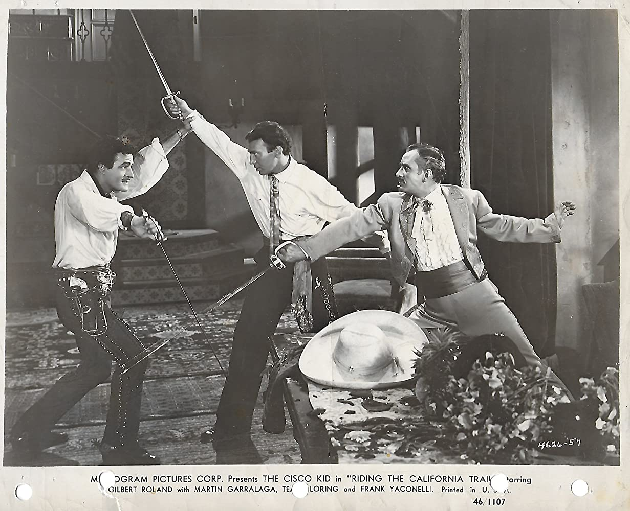 Martin Garralaga, Ted Hecht, and Gilbert Roland in Riding the California Trail (1947)