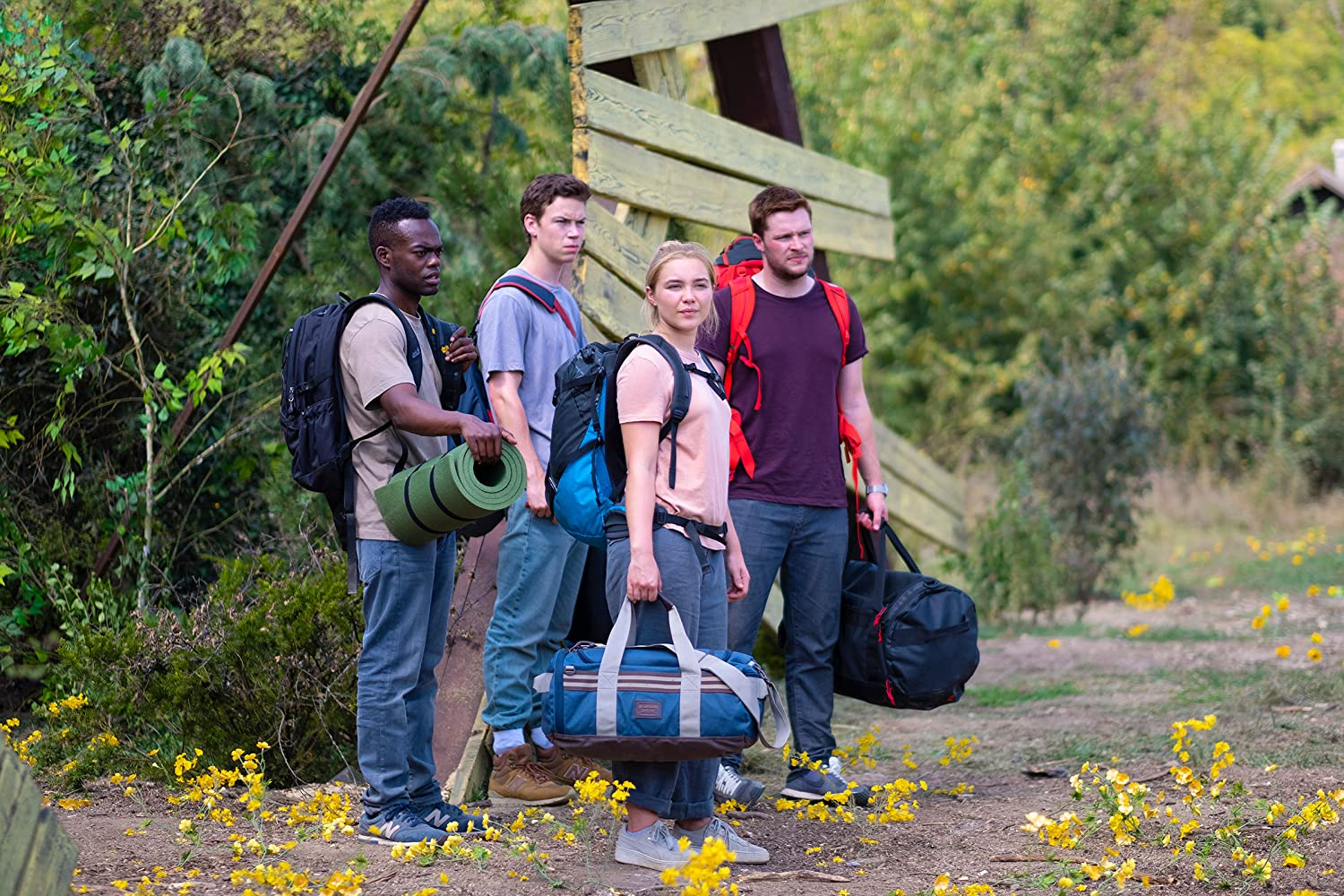 Will Poulter, William Jackson Harper, Jack Reynor, and Florence Pugh in Midsommar (2019)