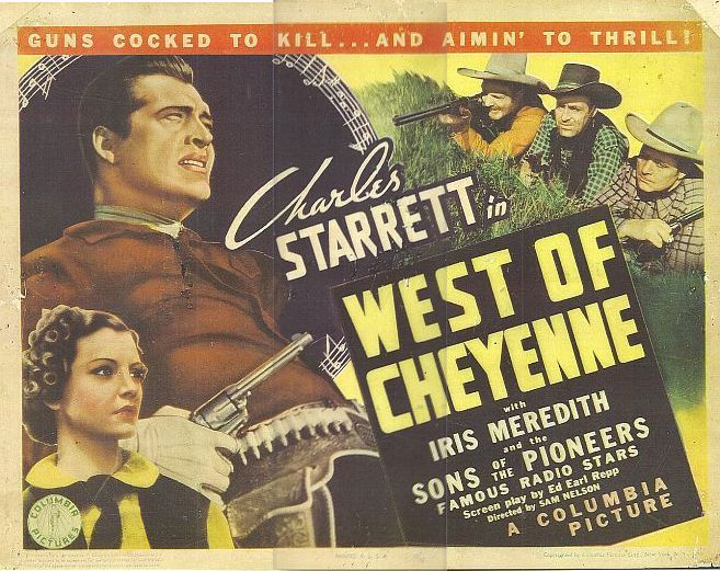 George Chesebro, Edmund Cobb, Iris Meredith, Art Mix, and Charles Starrett in West of Cheyenne (1938)