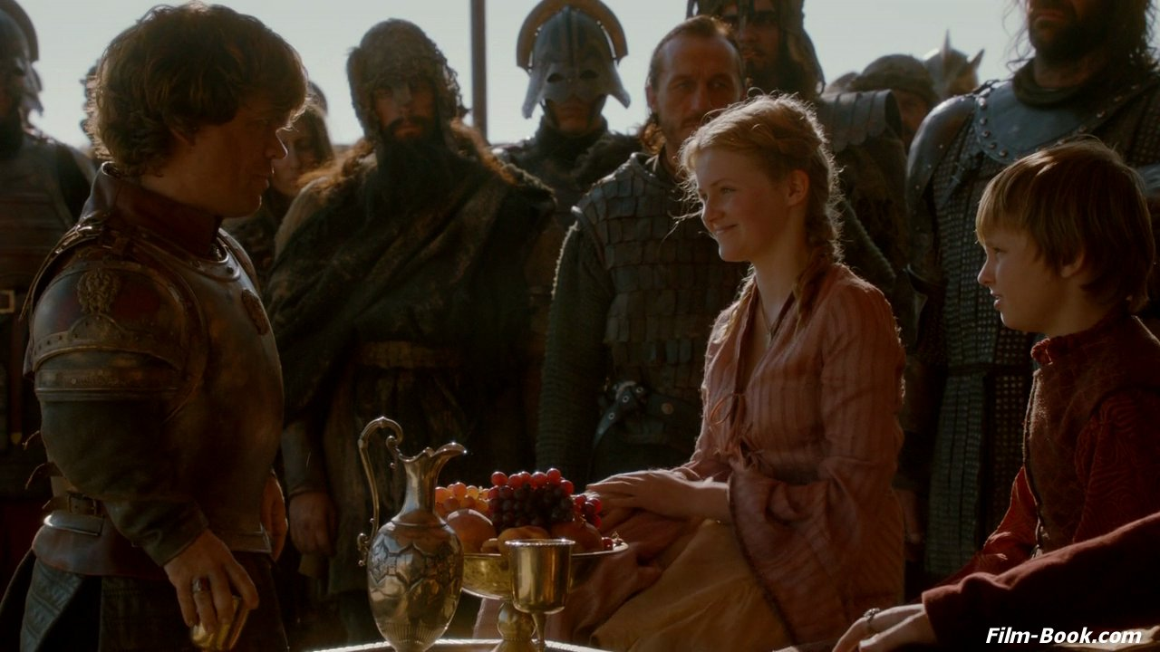 Aimee Richardson as Myrcella Baratheon in Game of Thrones with Peter Dinklage as Tyrion Lannister
