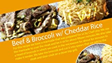 Carne de res y brócoli con arroz de brócoli y queso cheddar