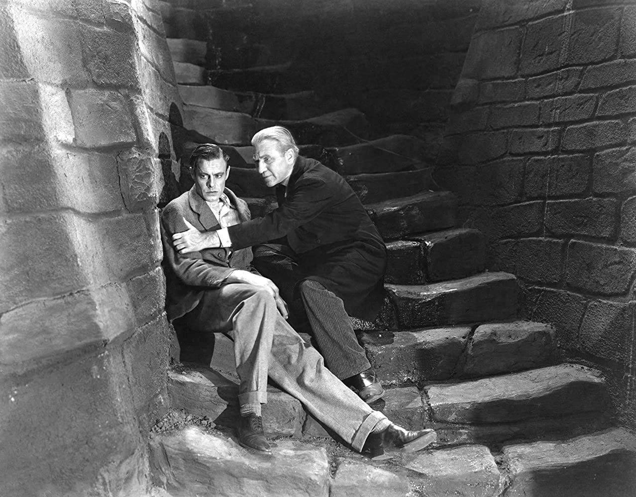 Colin Clive and Edward Van Sloan in Frankenstein (1931)