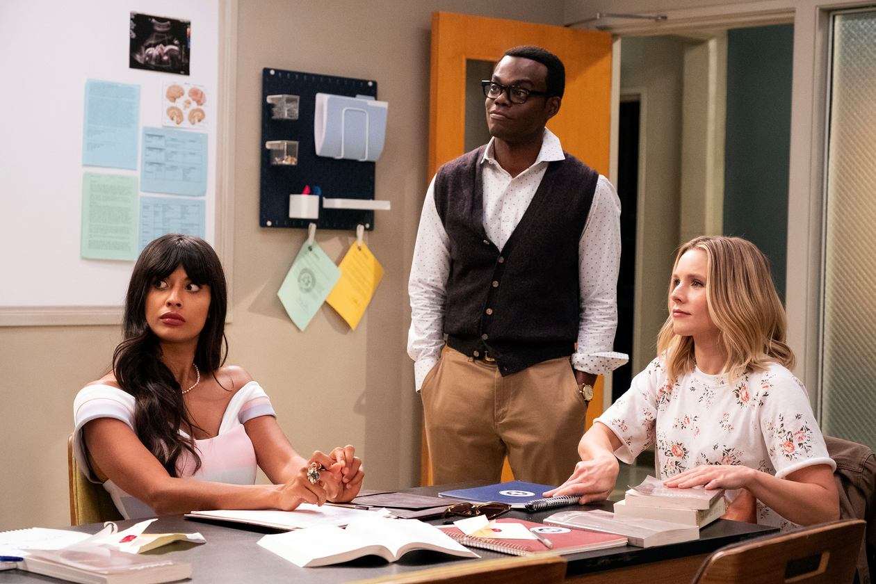 Kristen Bell, William Jackson Harper, and Jameela Jamil in The Good Place (2016)