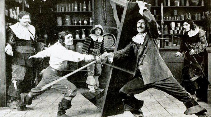 Douglas Fairbanks Lon Bary Eugene Pallette and George Siegmann in The Three Musketeers 1921