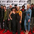 Paige McGarvin with various cast and crew at the premiere of Sleeping in Plastic