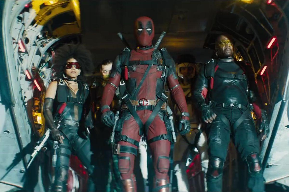 Ryan Reynolds, Terry Crews, Bill Skarsgård, Lewis Tan, dan Zazie Beetz dalamDeadpool 2 (2018)