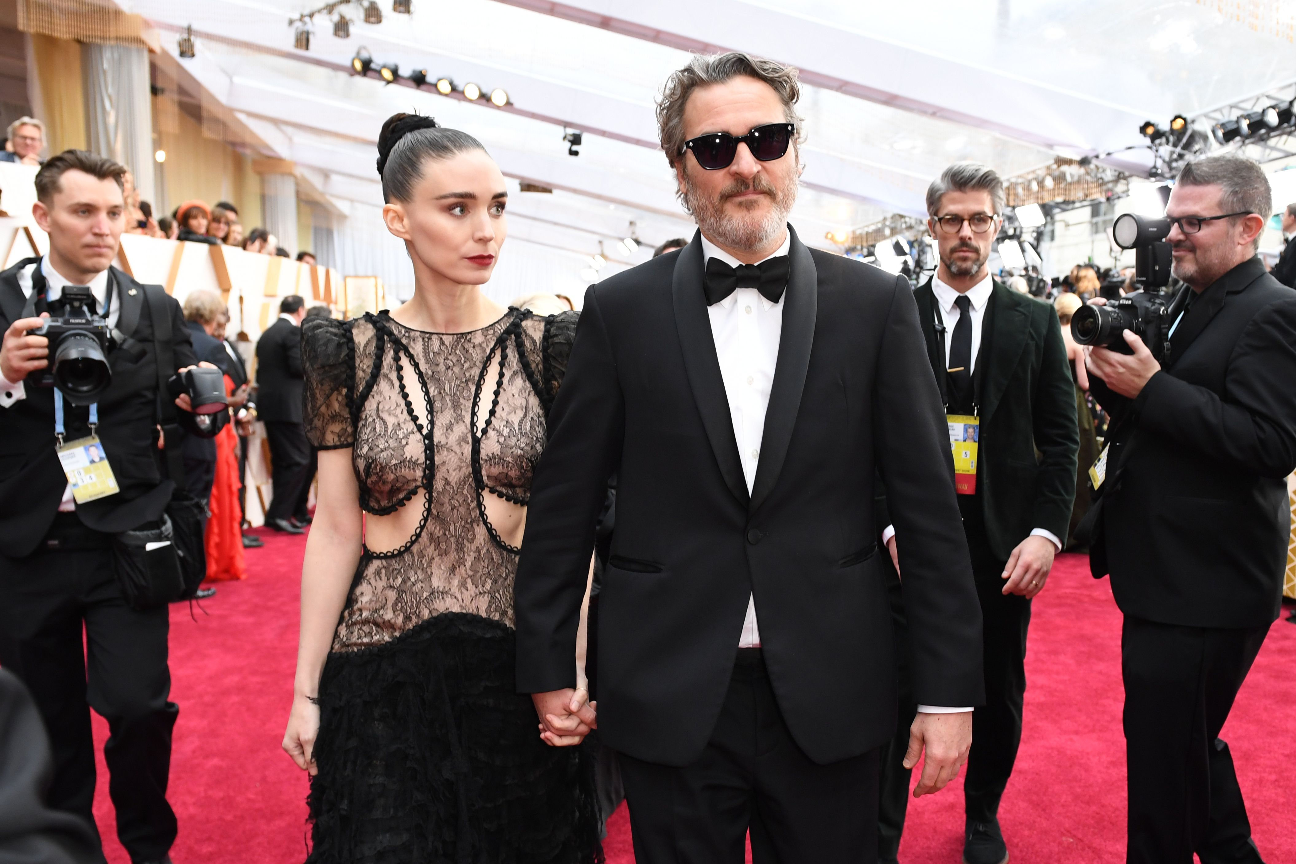 Joaquin Phoenix and Rooney Mara at an event for The Oscars (2020)