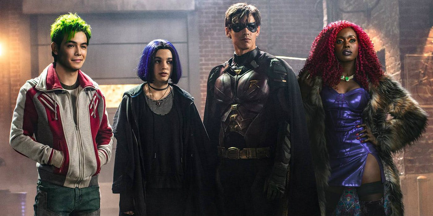 Anna Diop, Ryan Potter, Brenton Thwaites, and Teagan Croft in Titans (2018)