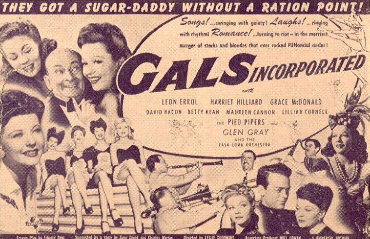 David Bacon, Maureen Cannon, Leon Errol, Glen Gray, Harriet Nelson, Betty Kean, and Grace McDonald in Gals, Incorporated (1943)