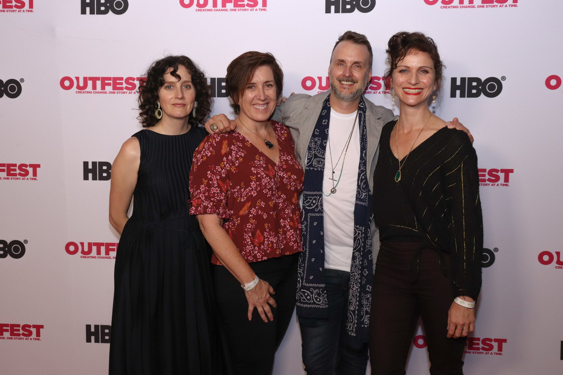 """with associate producer Carolyne Jurriaans, producer Diane Becker and editor Claire Didier at """"Sid & Judy"""" LA premiere at Outfest 2019"""