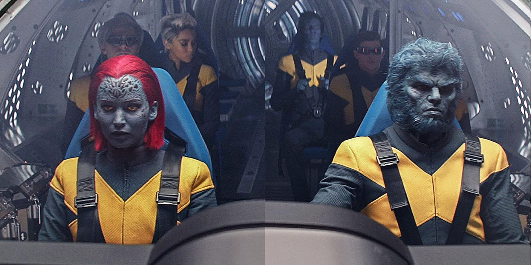 Nicholas Hoult, Evan Peters, Jennifer Lawrence, Kodi Smit-McPhee, Alexandra Shipp, and Tye Sheridan in Dark Phoenix (2019)