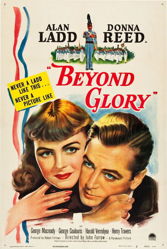 Alan Ladd and Donna Reed in Beyond Glory (1948)