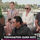 Linda Hamilton, Tim Miller, Gabriel Luna, and Mackenzie Davis in IMDb at San Diego Comic-Con 2019 (2019)