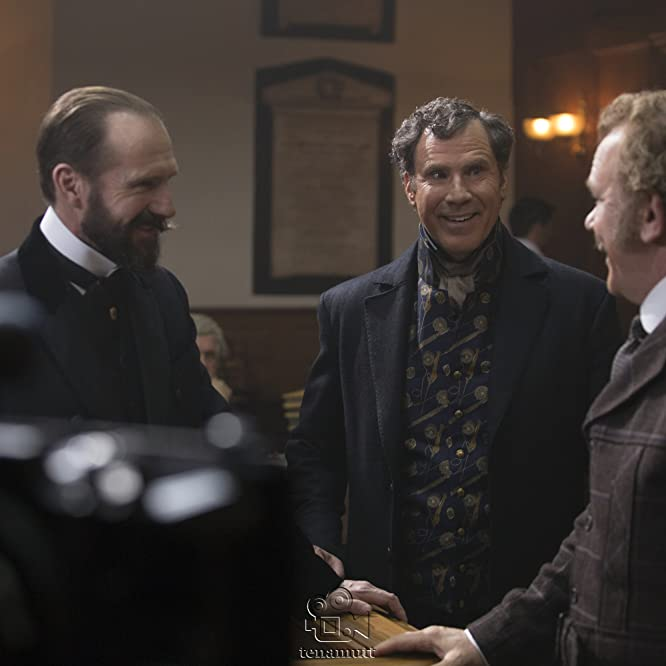 Ralph Fiennes, John C. Reilly, and Will Ferrell in Holmes & Watson (2018)
