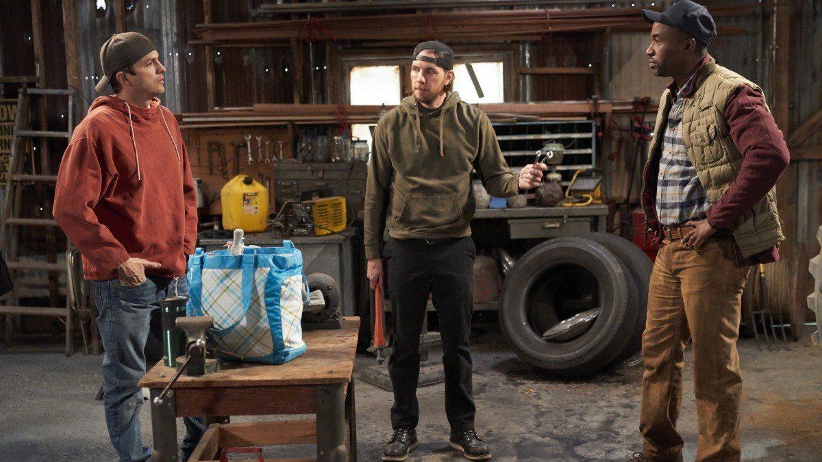 Ashton Kutcher, Dax Shepard & Dawan Owens on the set of The Ranch